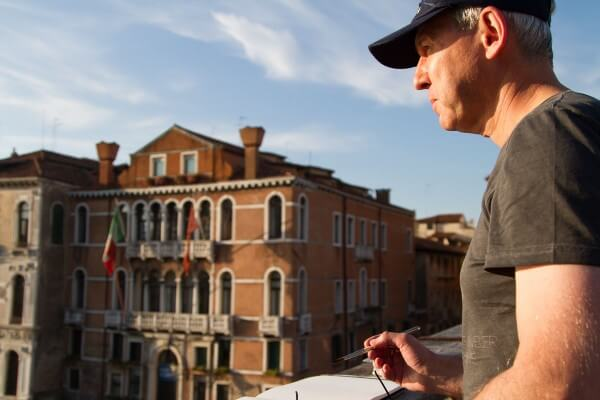 Colin Joyce sketching in Venice