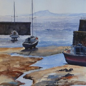 Watercolour Dysart Harbour Bright And Breezy