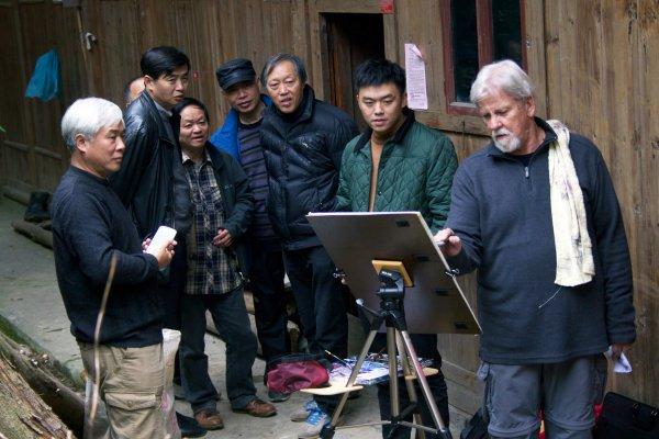 John Salminen painting in China
