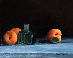 Ink Bottle And Apricots